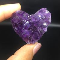 Batu mulia natural kecubung amethyst hati 4cm 211120.9