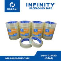 [GROSIR] LAKBAN NOZOMI INFINITY 24 MM x 72 YARD CLEAR / 96 ROLL