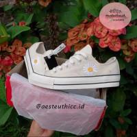 Sepatu Converse 70S Peace Minusone Flowers Low - PREMIUM - Wanita Pria - Putih, 36
