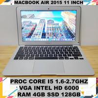 MACBOOK AIR 2015 11 INCH RAM 4GB SSD 128GB VGA INTEL HD 6000 2016 2017