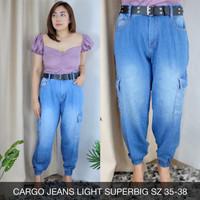 Cargo Jeans Light CELANA JEANS PINGGANG KARET TERMURAH JUMBO 35 36 38