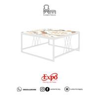 Coffee Table Expo M CT 8045 Bohemia Metal White / Meja Tamu Minimalis