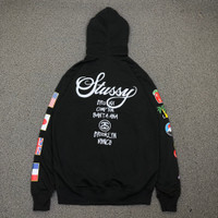 Hoodie Stussy World Wide Tour Flags Black Premium Authentic