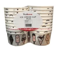 Krishome Ice Cream Cup 20Pcs Tempat Gelas Untuk Es Krim 180cc