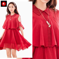 Okechuku SAFINA Midi Dress Pesta Dress Sifon Dress Korea Open Shoulder