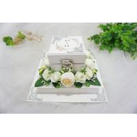 Kotak Cincin Nikah / Ring Box Wedding / Mahar & Seserahan - Putih, Mika Polos