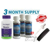 Paket 3 bulan Kirkland Minoxidil 60 ml + Natrol Biotin 10000 mcg 100
