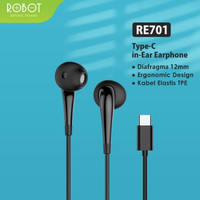 HEADSET ROBOT RE701C ORIGINAL HEANDSFREE CABLE TYPE-C EARPHONE KABEL