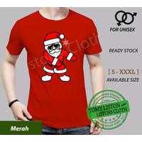 kaos natal merry christmas baju santa claus dance sinterklas - Merah, XS