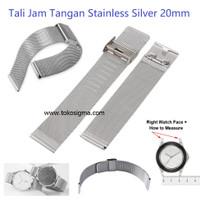 Strap Metal Milanese Clasp Watch 20mm Stainless Silver Tali Jam Tangan