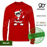 kaos natal merry christmas baju santa dance sinterklas lengan panjang - Merah, XS