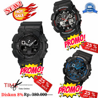 SALE !! Jam Tangan Pria Merk G-Shock 100% Autolight & Fullset GA100