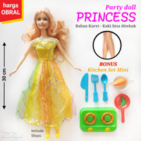 OBRAL BONEKA PARTY PRINCESS KARET KAKI BISA DI TEKUK BONUS KITCHEN SET