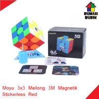 Rubik 3x3 Moyu Meilong 3M Magnetik Stickerless Red