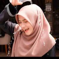 Jilbab Hijab Kerudung Segiempat Voal Miracle Waterproof Polos Terbaru - light milo