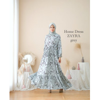 GAMIS WANITA MUSLIM (RAYON VISCOSE)MOTIF ZAYRA/Home dress rayon - GREY