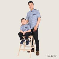 MEDELLIN Kemeja Couple Pria dan Anak Lengan Pendek 1016 & 2016 BIRU