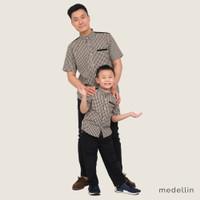 MEDELLIN Kemeja Couple Pria dan Anak Lengan Pendek 1016 & 2016 HITAM