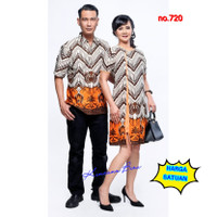720 Couple batik kemeja pria, dress wanita M - bigsize XXL - dress XXL