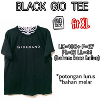 Black Gio Tee KAOS WANITA MELAR HITAM BASIC TERMURAH BIG SIZE FIT XL