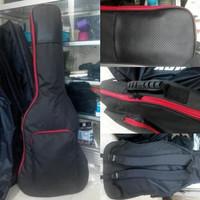 Tas gitar / softcase gitar elektrik hitam garis merah