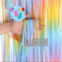 Tirai Foil Pastel Rainbow / Backdrop Foil Rainbow / Foil Fringe
