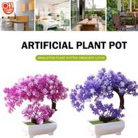 Bunga Hias LOTUS BULAN SABIT Artificial Pot Tanaman Pohon Bonsai Vas