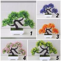 Bunga Hias BONSAI Artificial Pot Dekorasi Plastik Tanaman Pohon Vas Ok