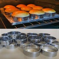 Cetakan Burger / Cetakan Roti / Ring Cutter Motif Bulat 8x3cm 12 pcs - Bulat 6x3cm
