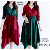 DS1501 - DRESS PESTA WANITA MIDI FLARE BASIC SCUBA DRESS MURAH