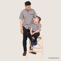 MEDELLIN Kemeja Couple Pria dan Anak Lengan Pendek 1016 & 2016 NAVY