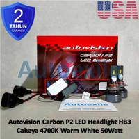 Autovision Carbon P2 LED HB3 9005 Putih Hangat USA Chip Lampu Mobil