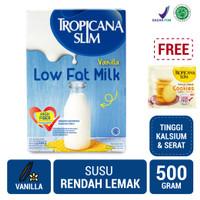 Tropicana Slim Milk Low Fat Vanilla 500gr FREE Cookies (1 Sch)