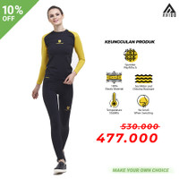 Tiento Baselayer Baju Olahraga Wanita Legging Black Yellow 1 Stel Ori - L