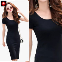 Okechuku JOLICYA Midi Dress Pesta Lengan Pendek Mini Dress Gaya Korea