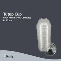 TUTUP CUP GELAS PLASTIK DOME // CEMBUNG (50 PCS)