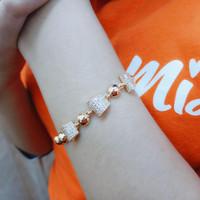 M46172 Gelang Tangan Rantai Xuping Titanium Lapis Emas Missi Fashion J