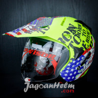 JPR HELM SUPER MOTO BORN TO RIDE | FLUO YELLOW DOFF | DOUBLE VISOR