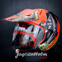 JPR HELM SUPER MOTO ENGINE | FLUO RED DOFF YELLOW | DOUBLE VISOR