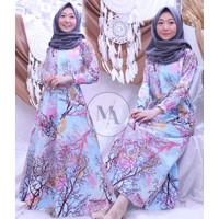 gamis maxi fashion muslim wanita motif ranting - blue