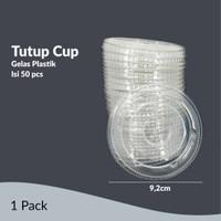 TUTUP CUP GELAS PLASTIK DATAR // FLAT CUP (50 PCS)