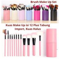 Kuas Make Up Set isi 12 plus tabung makeup brush set Import - Hitam