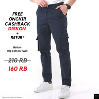 Celana Chino Cargo kargo panjang Original Khaki / Abu / Cream - Biru