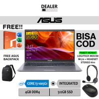 "Laptop ASUS 14"" FHD Core i3-1005G1 4GB 512GB SSD FREE OHS WIN10 A409JA - Grey OHS, Non Paket"