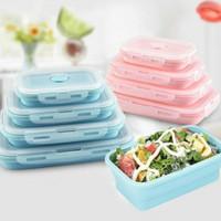 Kotak Makan Lipat Set 4 in 1 Silikon Lunch Box