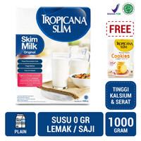 Tropicana Slim Non Fat Skim Milk Plain 1kg FREE Cookies (5 Sch)