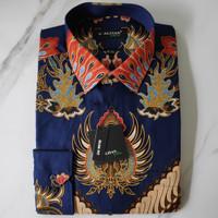 Alisan Kemeja Batik Printing Slimfit Lengan Panjang Biru Navy Merak - Biru, S