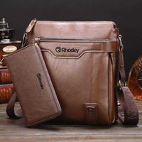 Tas selempang slingbag slempang Pria cowok kulit Premium import - Coklelat muda
