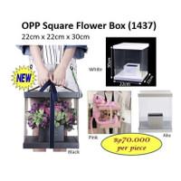 OPP Square Flower Box Kotak Mika Unik Artificial Asli Bunga (1437) - Putih