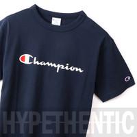 Champion Men Heritage Script Logo Tee Navy Blue Original / Baju Pria